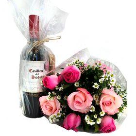 Buquê 7 rosas, Chocolates e Vinho