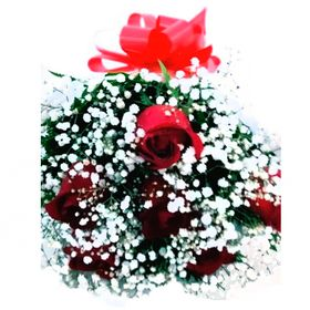 Buquê 6 Rosas com Gipysofila