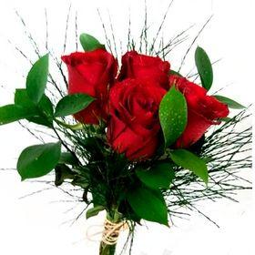 Buquê 6 Rosas e verdes