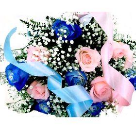 Buquê Revelação  6 Rosas Azuis e 6 Cor de Rosa