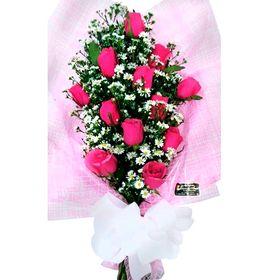 Buquê 12 Rosas Pink Estilo Europeu