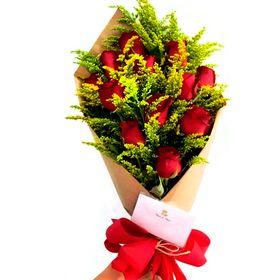 Buquê Europeu 12 rosas vermelhas e tango