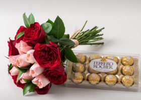 Buque de 15 Rosas Duas Cores, Chocolate de 12