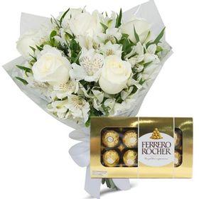 Buque de 05 Rosas Brancas e Astromelias com chocolate de 08