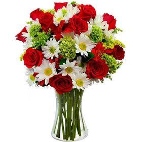 Arranjo com Rosas Vermelhas e Margaridas Brancas no vidro Retangular