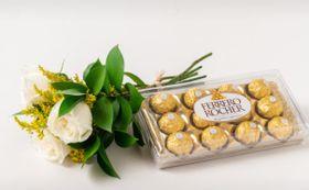 Buque de 03 Rosas Brancas, Chocolate de 12