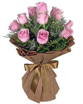 Buque de 12 Rosas Rosadas