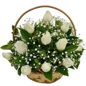 Cesta de 15 Rosas Brancas