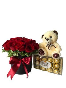 Box de 20 Rosas Vermelhas com Pelúcia e Chocolate de 12