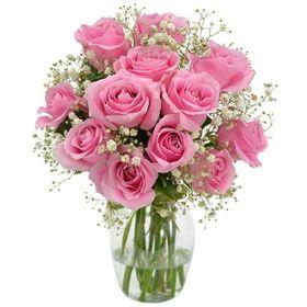 Arranjo de 18 Rosas cor de Rosa na Base de Vidro Retangular