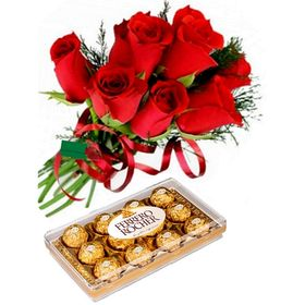 IMPORTADAS - Buque de 07 rosas Vermelhas com Chocolate de 12