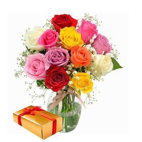 Arranjo 12 Rosas Colorido Espraiado com Chocolate ** 18% OFF **