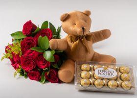 Buque de 12 Rosas Vermelhas, Chocolate de 12 e Urso 40cm