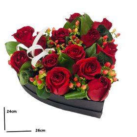 BOX coração de rosas