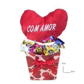 Caixa coração médio e chocolates