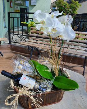 Orquídea branca com vinho e chocolate