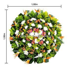 Coroa de flores Pequena com Estrelízias Flores do Campo e Folhagens
