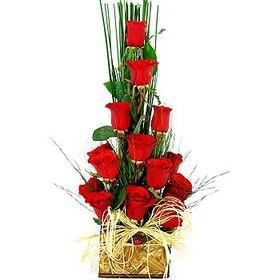 Arranjo rosas estilo Ikebana