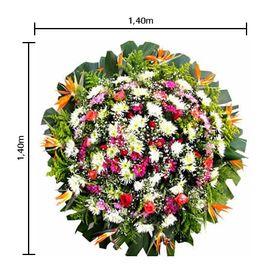 Coroa de flores Grande Estrelízias,  Crisântemos, Tango, Áster, Rosas, Gips e Folhagens