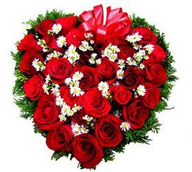 Arranjo de rosas forma de coração