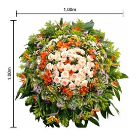 Coroa de flores Pequena Estrelízias, flores do campo, Rosa, Aster, Lírios, Gerberas, Tango e Folhagens