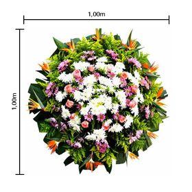 Coroa de flores Pequena Estrelizias, flores do campo, Rosas, Tango e Folhagens