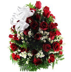 Cesta redonda com 48 rosas