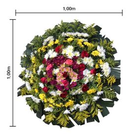 Coroa de flores Pequena com flores do campo, Rosas, Tango e Folhagens