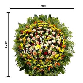 Coroa de flores Média Estrelízias, Áster, flores do campo, Rosas, Lírios e Folhagens