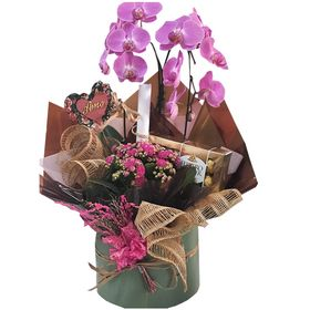 Box com Orquídea, Kalandiva, Chocolate Ferrero, Placa