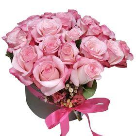 Box 24 rosas cor de rosa degradê