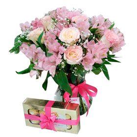 Vaso com Rosas e astromelias cor de rosa + Chocolate
