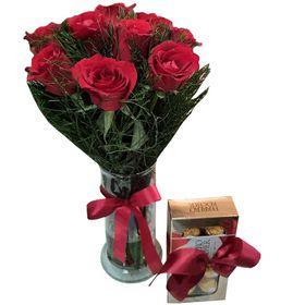 Vaso com 09 Rosas Vermelhas + chocolate