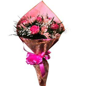 Buquê 6 rosas e Astromelias cor de rosa