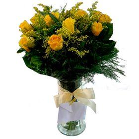 Vaso com  12 Rosas Amarelas