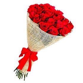 Buquê 24 Rosas Vermelhas em Juta