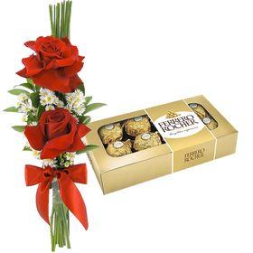 Ramalhete com 2 Rosas e Chocolate