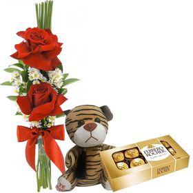 Kit 2 Rosas mais Ursinho mais Ferrero Rocher