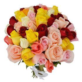 Buquê 36 Rosas Coloridas